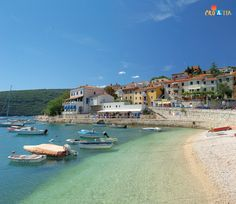 Rabac, Istria, Croatia. Due to the series of beautiful pebbly beaches and crystal clear sea it has justly been given the name of the pearl of Istria.