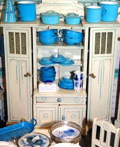 Bright Beautiful Blue-Ware For The Dollhouse Kitchen