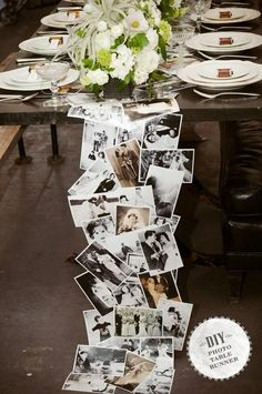 34 DIY Wedding Decor Ideas For The Bride on A Budget DIY Wedding Decor - DIY Photo Table Runner - Easy and Cheap Project Ideas with Things Found in Dollar Stores - Simple an. Anniversary Parties, Wedding Anniversary, Anniversary Ideas, Anniversary Party Centerpieces, Parents Anniversary, Silver Anniversary, Photo Table, Picture Table, Picture Ideas