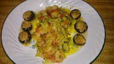 Garlic shrimp and stuffed mushrooms