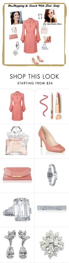 """""""Shopping&Lunch with First Lady"""" by hshprincessgebevieve ❤ liked on Polyvore featuring Elie Saab, Guerlain, L.K.Bennett, Tacori and Harry Winston"""