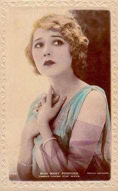 MARY PICKFORD (1892-1979) known as 'America's Sweetheart' hugely popular during the silent era. Lovely tinted Beagles postcard. Mary and husband Douglas Fairbanks Snr lived at PICKFAIR & were known as American Royalty. (The Minkshmink Vintage Postcard Collection on Pinterest)