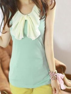 Green Pleated Ruffles Bow Neck Chiffon Tank Vest pictures