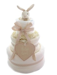 Neutral Nappy Cake - Cocoa Bunny. When did nappies become works of art?