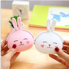 White & Pink Bunny Cute Coin purse kawaii by BigCatOfficeStore