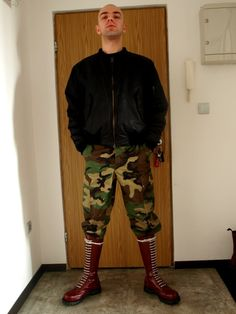 punkerskinhead: cool camouflage pants and skinhead boots