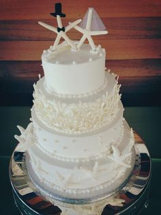 love the beads ♥♥♥♥ Starfish Cake, Quince Cakes, Plan My Wedding, Cake Designs, Perfect Wedding, Real Weddings, Cake Decorating, Wedding Cakes, Sea