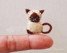 Tiny Felt Siamese Cat, Felt Animal Plushie, Miniature Felt, Felted Kitty, Handmade Felt Cat, Tiny Siamese Kitten, Mini Felt Stuffed Plush