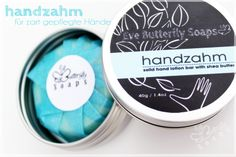 """""""Handzahm"""" (solid hand lotion bar with Almond Oil, Cocoa- and Sheabutter & Mineral Powder)"""