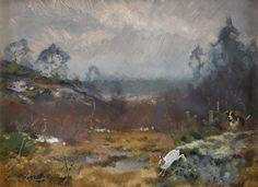 Lindorm Liljefors (1909-1985): Landskap med hare och jakthund, 1970