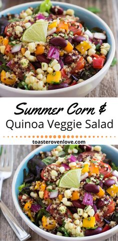 Summer Corn and Quinoa Veggie Salad, a fresh light and nutritious summertime meal made with sweet baked corn, crisp veggies, quinoa and kidney beans. Summer Corn Salad, Quinoa Salat, Baked Corn, Vegetable Seasoning, Dinner Salads, How To Cook Quinoa, Healthy Eating, Healthy Kidneys, Healthy Junk