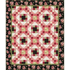 Maywood Welcome Home Shabby Rose Floral Pink Green Flannel Complete Quilt Kit 60 x 72 Fabric by PrivateSourceQuiltin on Etsy