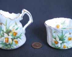 Hammersley & Co. Bone China Made in England Individual Cream and Sugar with Daffodils #4157