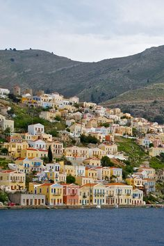Vivaciously painted houses in the island of Symi, the #Dodecanese, Greece (by Jebulon)