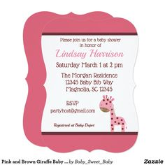 Mouse free invitation maker amusing handmade birthday invitation pink and brown giraffe baby girl shower invitation our adorable invitations are perfect for a baby stopboris Images