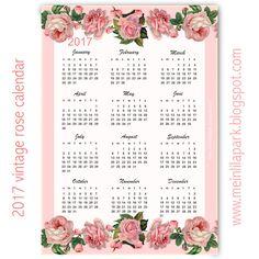 Free printable 2017 vintage rose calendar - year at a glance - freebie | MeinLilaPark