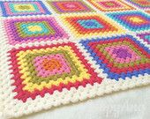 Retro Granny Blanket~ Colourful Squares Throw~ Crazy Colourburst Afghan~ Camping, Festivals, Garden, Home~ Made to Order~ Choice of Colours