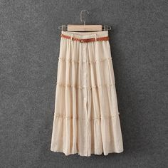 """HPCream boho maxi skirt w belt, festival ready [FINAL SALE, price is firm] HP 5/3/15 Street Style✨Only 2 left!Brand new with tags. Beautiful maxi skirt with the belt, full skirt, big circumstance so you can twirl in it, so ready for festival season Mixed cotton/linen. Elastic waist, so one size fits most. 5 shell buttons at front, lace lining behind front slit, fully lined. Measurements: waist 24.5""""-38.5"""", length 30.5"""", skirt circumstance at hem 118"""". Also available in bright yellow. Check…"""