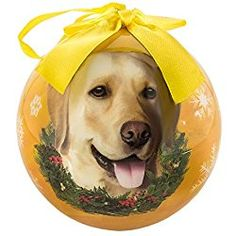Set of 5 Pcs Yellow Labrador Christmas Ornament Yellow Shatter Proof Ball Holiday Tree Decoration