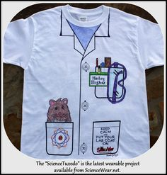 Science Tuxedo shirt project for the classroom.  Now everyone can have their own lab coat!  Bulk order (minimum 12) - assorted sizes Youth - Adult.  Just use fabric marker.  Call 800-870-9900 for more information.