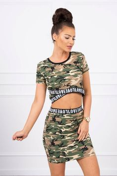 Set dama casual-sport cu imprimeu army 9093-3 Blouse And Skirt, Sport Casual, Camo Print, Modeling, Army, Two Piece Skirt Set, Skirts, Cotton, Top
