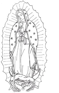 Our Lady of Guadalupe coloring page-  Use to make paper bag tilma's (2nd grade) and prayer cards (4th grade)