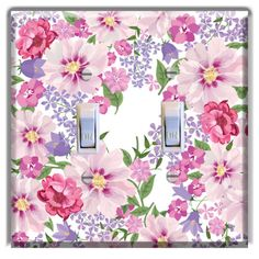 Floral-Mixed-Flowers-Pink-Purple-LIGHT-SWITCH-PLATE-Cover-Wall-Decor
