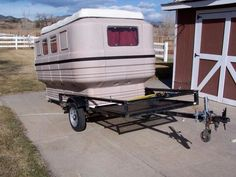 The Teal camper can be strapped or bolted to a trailer
