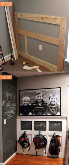 21 amazing DIY before after entryway makeovers! These dramatic transformations will inspire you to create a beautiful, functional and welcoming entryway! - A Piece Of Rainbow: