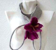 Made to order ,tendril flowers,neck jewelry necklace, flowers, felt, decoration, scarf, felt accessories chain
