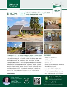 Just Listed! Real Estate for Sale: $385,000-3 Bd/2 Ba Lovely One Level Updated Felida Manor Ranch Style Home on Large .21 Acre Cul-de-sac Lot at: 2712 NW 107th Cir, Vancouver, Clark County, WA! Area 41. Listing Broker: Barry Johnson (360) 721-2844, John L Scott, Vancouver, WA! #realestate #justlisted #Vancouver #Felida #FelidaManor #Lakeshore #OneLevel #Ranch #ThreeBedroom #LargeLot #ColumbiaRiverHigh #BarryJohnson #JohnLScott