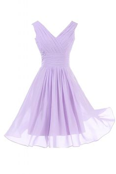 Sunvary Simple Double V-neck A-line Short Bridesmaid Dress Homecoming Prom Dress - US Size 16- Lilac