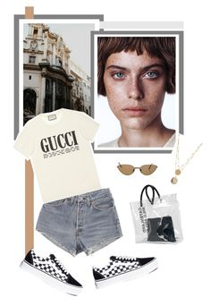 """Untitled #2349"" by katerina-rampota ❤ liked on Polyvore featuring Dsquared2, Cartier, Levi's, Gucci and Vans"