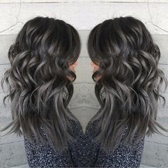 Pewter and Charcoal hair color by Janii Hartt Silver Hair Gray Hair Granny Hair . Charcoal Hair, Charcoal Color, Covering Gray Hair, Ombré Hair, Hair Oil, Great Hair, Amazing Hair, Dark Hair, Black And Silver Hair