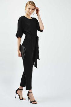 Belted black jumpsuit Topshop