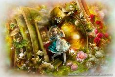 Shu's portrayal of Alice in Wonderland, falling through the rabbit burrow, and surrounded by all the other familiar characters. Description from imaginatorium.org. I searched for this on bing.com/images
