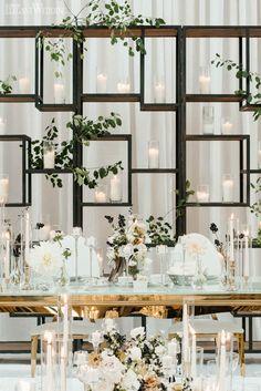 Geometric Wedding Backdrop, Wedding Backdrop Ideas | Modern Black and White Wedding | ElegantWedding.ca