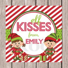 Printable elf kisses christmas tags personalized by ciaobambino