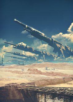 Background Art by 泉彩 Space Fantasy, Sci Fi Fantasy, Fantasy World, Arte Sci Fi, Sci Fi Art, Futuristic Art, Futuristic Technology, Landscape Concept, Fantasy Landscape