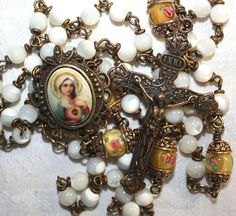 Antique french inspired bronze rosary Immaculate Heart, mother of pearl beads