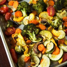 Roasted Vegetables - Recipe for Easy Roasted Vegetables - Roasting Vegetables – 1 lg head broccoli florets, 1 lg zucchini, 1 lg yellow squash, 1 c cherry to - Roasted Vegetable Recipes, Veggie Recipes, Vegetarian Recipes, Cooking Recipes, Healthy Recipes, Roasted Vegetable Medley, Vegetarian Grilling, Tasty Meals, Healthy Grilling