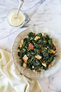 Grilled Kale Caesar with Torn Croutons by kitchenckonfidence #Salad #Caesar #Kale #Grill
