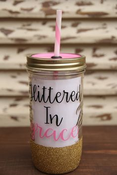 Glittered In Grace Mason Jar Tumbler by Sweetlylemon on Etsy