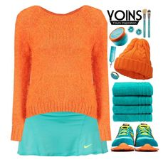 """""""Energy // Yoins"""" by ritaflagy ❤ liked on Polyvore featuring NIKE, New Balance, Christy, Moroccanoil, Sigma Beauty and yoins"""