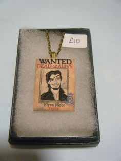 They got his nose right!  -- Flynn+Rider+Wanted++Poster+Necklace+by+KawaiiCandyCouture+on+Etsy,+£10.00