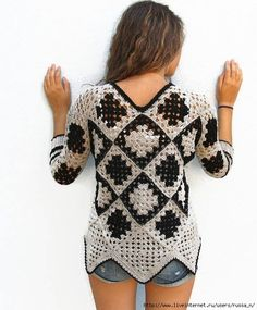 nice Crochet Granny square sweater for womens. Grey-Black granny square sweater for women. One of a Kind ready to ship by KrissWool Pull Crochet, Knit Crochet, Crochet Tops, Crochet Motif, Free Crochet, Crochet Squares, Crochet Granny, Granny Squares, Winter Sweaters