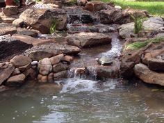 Waterfall created by DFW Ponds Inc. in Decatur, TX. #WaterfallWednesday