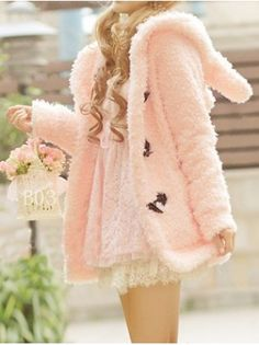 Faux Fur Rabbit Hooded Duffle Coat... with a lace skirt of course.