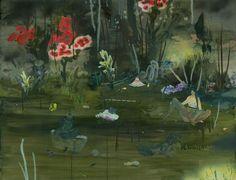 """Sofia Arnold: Evening at Bath Hole, acrylic and oil on canvas, 30""""x 40""""  Found on sofia-arnold.com"""