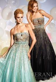 Sis prom, maybe? Terani yes. I'm looking at grad dresses for Jordan already. Terani Dresses, Satin Dresses, Strapless Dress Formal, Gowns, Formal Dresses, Tulle Gown, Sweet 16 Dresses, Sweet Dress, Pretty Dresses
